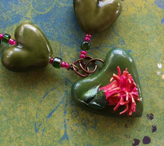 Woodland Forest Pink Flower Fairy Bead Necklace
