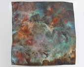 "SALE 20% Off Galaxy Nebula Print Silk  Cosmic Square Scarf ""Carina Nebula"""