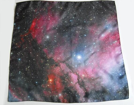 "Galaxy Nebula Print Silk  Cosmic Square Scarf ""Eta Carinae"""