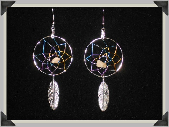 Handcrafted Moonstone DreamCatcher Earrings