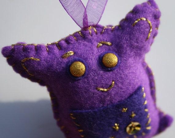 Tiny Gift Critter: Felt Purple & Gold Sweetheart Engagement Ring Box Jewellery Critter