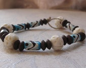 Hand Painted and Carved Bone Bracelet