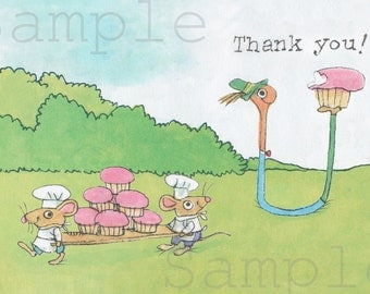 Thank You Cards Lowly Worm, digital to print