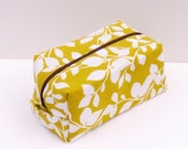 Bright Leaves Print - Boxy Make Up Bag / Cosmetic Bag / Pencil Case - MADE TO ORDER