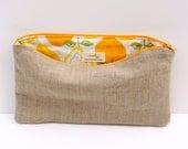 Lemony Flat Pencil Case / Zipper Pouch / Make Up Bag - READY TO SHIP
