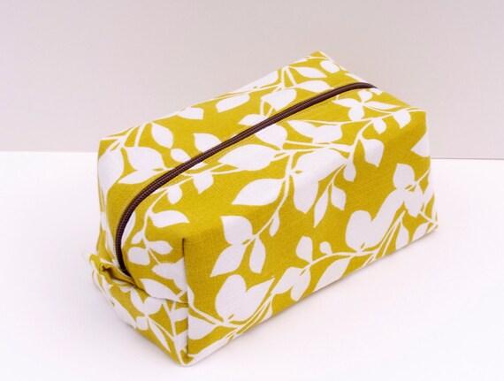 Bright Leaves Print - Boxy Make Up Bag / Cosmetic Bag / Pencil Case