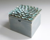 Small charming pale blue, limpet shell topped Treasure Box - Myrtos