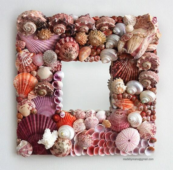 Handmade seashell mirror covered in exotic pink shells - HORSESHOE BAY