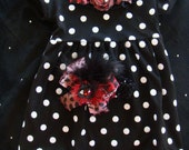 Toddler girl outfit dress black and white polka dots with red and black LEOPARD print rosette Matching headband with per