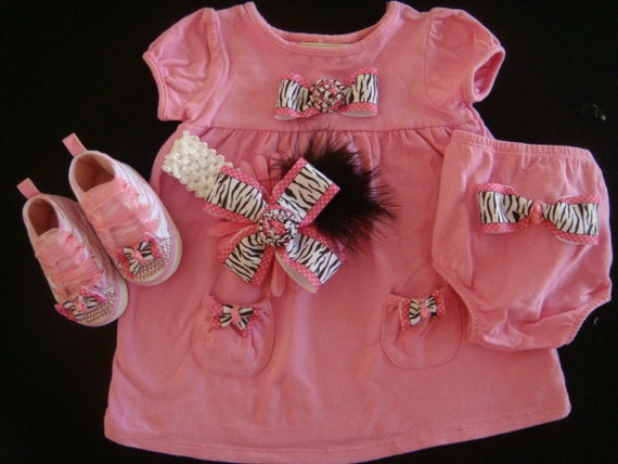 NEWBORN BABY girl outfit romper dress-Hot pink with zebra stripes pink dress, bloomers, headband with pink zebra print high tops