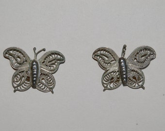 Vintage Mexican Silver Filigree Butterfly Earrings