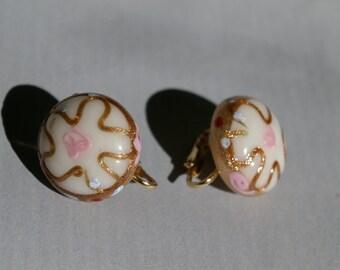 Venetian Glass Wedding Cake Earrings - Spring Back Clips - 1940's