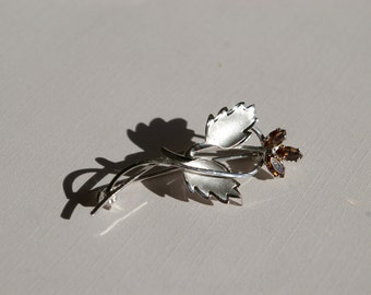 DCE Sterling Pin- Delicate Leaves and Topaz Rhinestones - 1960's