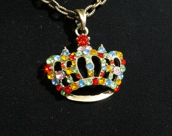 Multicolored Rhinestone Crown Shaped Necklace - 1970's - Sparkly and Glittery