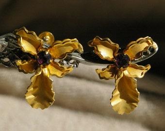 Vintage Gold Tone Orchid Earrings - Screw Back Clasps - 1970's - Amethyst Rhinestones
