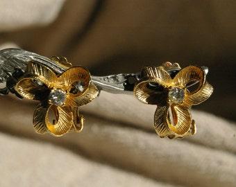 Gold Tone White Rhinestone Spring Back Clip Earrings - 1960's
