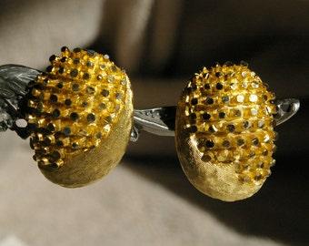 Vintage BSK Earrings- Bright Gold Tone - Elegant - 1960's - Spring Back Clips