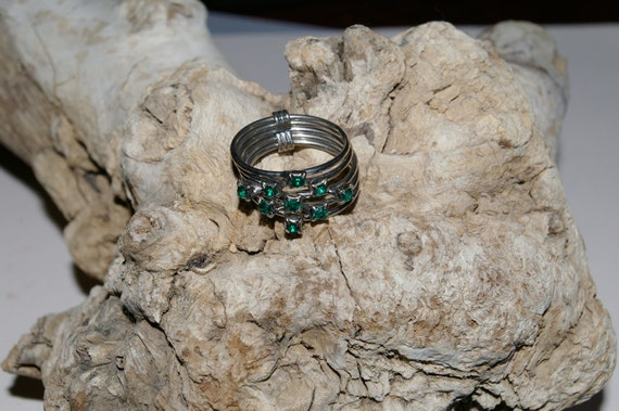Emerald Crystal, Silver Tone Stack Ring - Size 7