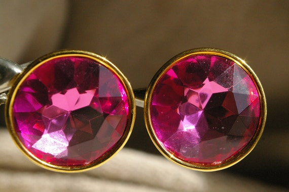 Huge Napier Mod Hot Pink Rhinestone Earrings - Bright, Glitzy - 1960's - Spring/Screw Back Combo