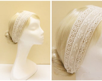 """Natural Cotton Lace Elastic Headband // Wide Lace Band // 2 3/8"""""""