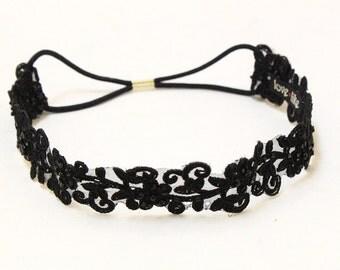 Black Beaded Lace Elastic Headband, Bridal Elastic Headband, Bridesmaid Headband, Elastic boho headband