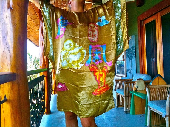 1960s vintage Asian Chinese New Year GOLD poly silk chiffon hostess caftan batik buddha horse rabbit hare tortoise turtle