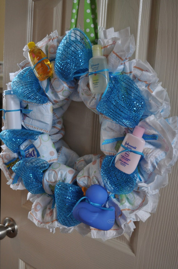 Items similar to diaper wreath baby shower decoration and for Baby shower diaper decoration