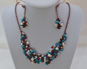 Turquoise Howlite and Copper Party Necklace with Earrings