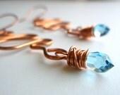 Copper Dangle Earring with swarovski crystal drop
