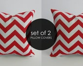 Red Chevron Pillows. 16 x 16 Set of Covers