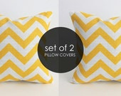 Yellow Pillows. FREE SHIPPING. Chevron Set of TWO. 16 x 16 Zig Zag