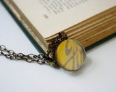 Abstract Photo Jewelry - Golden Scroll - yellow and gray, glass photo pendant, ford logo, copper chain, efpteam, fpoe