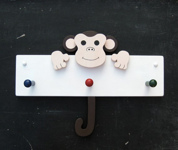 Silly Monkey coat rack. three pegs.