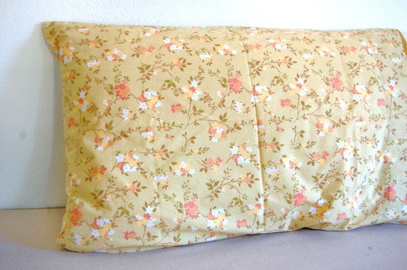 boho chic vintage pillowcase tan white orange flowers standard size