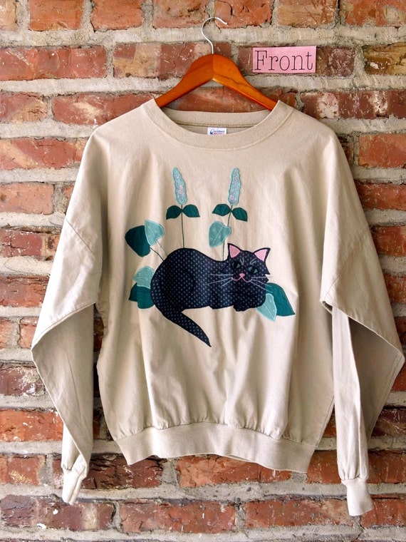 Kitsch/ 80s Style/ Cat and Mouse Embroidered Long Sleeve Shirt