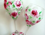 Hand Painted Wine Glasses with Roses