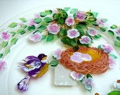 Hand Painted Glass Plate with Bird Nest and Flowers
