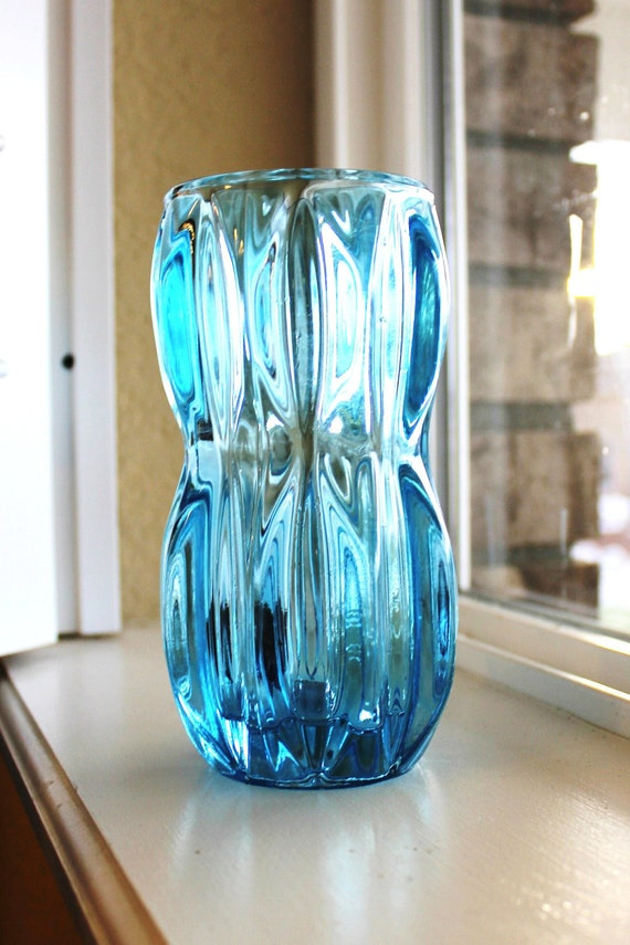 Items Similar To Aqua Blue Glass Vintage Vase Home Decor