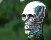 Throwback Chrome Skull Gear Shifter Wine Liquor Bottle Stopper