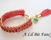 EDGY Stacked coral and emerald green gold wrap bracelet
