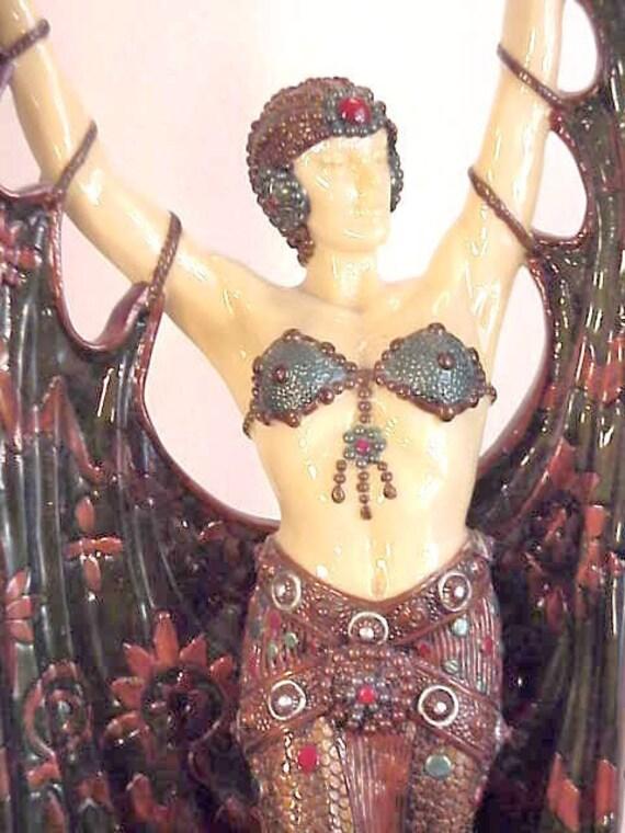 "Large French Art Deco, Erte/ Moreau Lamp- Egyptian Revival, Harem Dancer Torch Lamp - Exquisite & Dramatic, 32"" Tall"