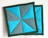 Blue and dark green windmill patchwork pot holders - set of 2, quilted