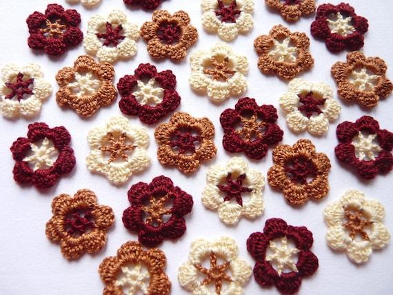 Small handmade assorted crochet flowers