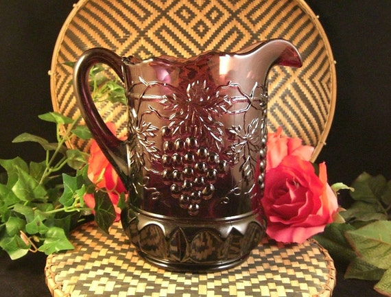 SALE Grape & Cable Amethyst Glass Pitcher