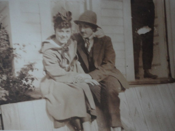 Antique 1910 Photo // Photo in Black and White // Two Women in Love One dressed up in Men's Clothing