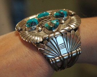 Stunning Outstanding Large Tobe Turpen Hallmarked Navajo Heavy Sterling & Morenci Turquoise Bracelet 122 grams Circa; 1960's