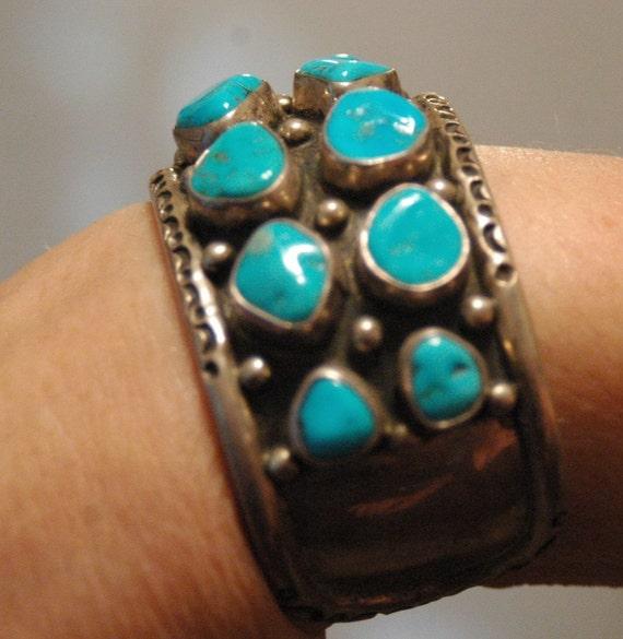 RESERVED  for J Vintage Frank Guerro stunning sterling and turquoise cluster bracelet 69 grams