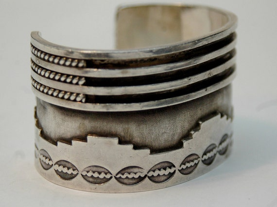 """Heavy vintage hallmarked Navajo thick sterling overlay wide bracelet 74 grams 1 1/2"""" tall"""