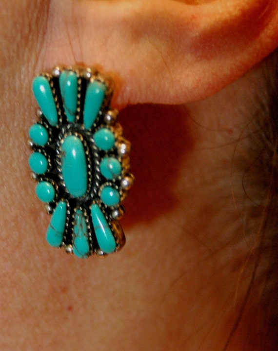 Reserved Angie Beautiful vintage Navajo turquoise and sterling cluster earrings