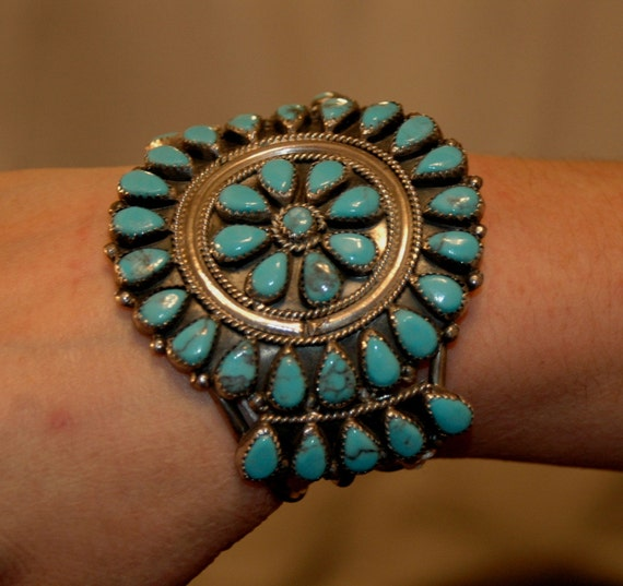"Vintage Navajo hallmarked turquoise cluster sterling bracelet 54 grams 2 1/2"" tall"